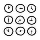 Hand getrokken klok vectorpictogrammen geplaatst illustratie Stock Afbeeldingen