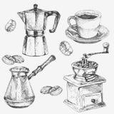 Hand getrokken koffieinzameling Kop, koffiezetapparaat, koffieboon, koffiemolen vector illustratie