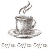 Hand getrokken koffiekop Royalty-vrije Stock Foto