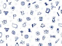 Hand getrokken krabbel bedrijfs naadloos patroon voor uw ontwerpproject Groot voor plaatsachtergrond Vector illustratie Stock Foto's