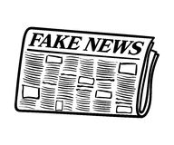 Hand getrokken krant met Valse Nieuwskrantekop Royalty-vrije Stock Foto's