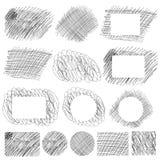 Hand getrokken kras eenvoudige patronen en banners stock illustratie