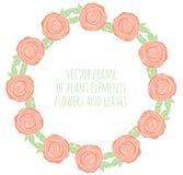 Hand getrokken kroon met bloemenblad en takken Stock Afbeelding