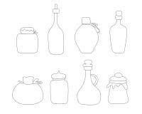 Hand getrokken Kruik vectorreeks Geschetste die kruiken en flessen op witte achtergrond worden geïsoleerd Stock Afbeeldingen