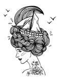 Hand getrokken kunstwerk van een dromende jonge mooie vrouw Royalty-vrije Illustratie