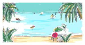 Hand getrokken kustlandschap Tropische toevlucht met ligstoel en paraplu, zandstrand, exotische palmen en zeilboten stock illustratie