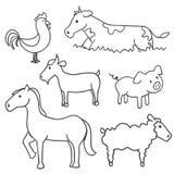 Hand getrokken landbouwbedrijfdieren Stock Afbeeldingen