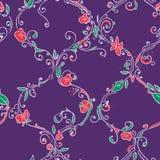 Hand getrokken latwerk bloemen naadloos patroon Stock Afbeeldingen