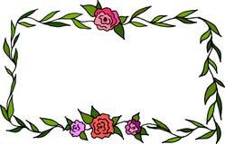 Hand getrokken leuk bloemenkader Royalty-vrije Stock Foto
