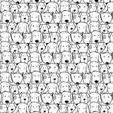 Hand Getrokken Leuk Hond Vectorpatroon Krabbelart. stock illustratie