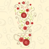 Hand getrokken leuke kop met rode hibiscusthee Perfecte hete stoom met bloemen en kruid onder mok Positief voorwerp Stock Afbeeldingen
