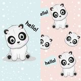 Hand getrokken leuke panda met patroonreeks vector illustratie