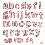 Hand getrokken leuke roze en witte puntbrieven Vector Illustratie