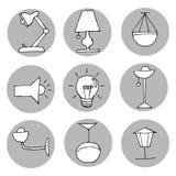 Hand getrokken lichte geplaatste pictogrammen Stock Foto