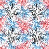 Hand getrokken lijn naadloos patroon Het element van het krabbelontwerp gekrabbellijn stock afbeeldingen
