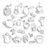 Hand getrokken lineaire geschetste thee en koffieinzameling Royalty-vrije Stock Afbeelding