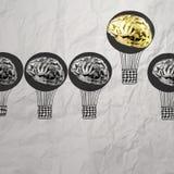 Hand getrokken luchtballons met 3d metaalhersenen Stock Afbeelding