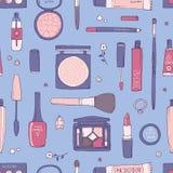Hand getrokken make-up en kosmetisch naadloos patroon Stock Afbeelding