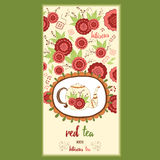 Hand getrokken malplaatje verpakkende thee, etiket, banner, affiche, identiteit, het brandmerken Royalty-vrije Stock Fotografie