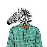 Hand Getrokken Manierillustratie van geklede omhoog zebra, in kleuren Vector Royalty-vrije Stock Foto's
