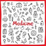 Hand getrokken medische geplaatste pictogrammen Vector illustratie (Hulpmiddelen, organen, symbolen) Stock Afbeelding