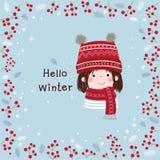 Hand getrokken meisje met de winterachtergrond Kerstmis en Nieuw vector illustratie