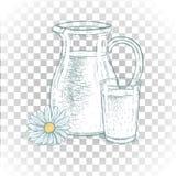 Hand getrokken melkkruik en glas melk met madeliefje EPS 10 stock illustratie