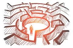 Hand getrokken mens die zich in centrum van labyrint bevindt royalty-vrije illustratie