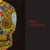 Hand Getrokken menselijke Schedel in Mexicaans art. Gevaarsymbool menselijke schedel Menselijke schedel voor tatoegering Sier men Royalty-vrije Stock Afbeeldingen
