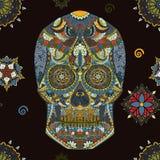 Hand Getrokken menselijke Schedel in Mexicaans art. Gevaarsymbool menselijke schedel Menselijke schedel voor tatoegering Sier men Royalty-vrije Stock Foto's