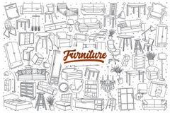 Hand getrokken meubilair vastgestelde achtergrond met het van letters voorzien Royalty-vrije Stock Afbeelding