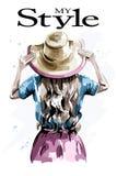 Hand getrokken modieuze vrouw in hoed De rug van de maniervrouw Mooi meisje in de zomerkleren vector illustratie