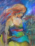 Hand getrokken mooi jong vrouwenportret De vrouw van de manier Leuk meisje met bloemen Het schilderen stock afbeeldingen