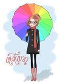 Hand getrokken mooi leuk meisje in glazen en met paraplu Royalty-vrije Stock Afbeeldingen