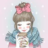 Hand getrokken mooi leuk meisje met koffie Stock Fotografie