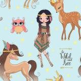 Hand getrokken mooi leuk stammen Indisch meisje met weinig paard stock illustratie