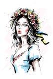 Hand getrokken mooie jonge Oekraïense vrouw in bloemkroon en etnische kleren Modieus elegant meisje De vrouwenportret van de mani vector illustratie