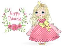 Hand getrokken mooie, leuke, meisjeprinses met bloemen Vector illustratie stock illustratie