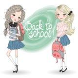 Hand getrokken mooie leuke schoolmeisjes met rugzakken Royalty-vrije Stock Afbeelding