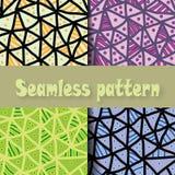 Hand getrokken multicolored patroon Reeks van Naadloze vector abstracte achtergrond met zwarte driehoeken met blauwe lijnen en Stock Foto