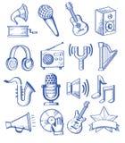 Hand getrokken muziek Stock Foto's