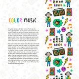 Hand getrokken muziekgrens De kleurrijke pictogrammen van de muziekschets Malplaatje voor vlieger, banner, affiche, brochure, dek Stock Afbeeldingen