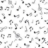 Hand getrokken muzieknota's Achtergrond van het muziek de naadloze patroon royalty-vrije illustratie