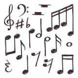 Hand getrokken muzieknota Vector muzikale die symbolen bij de witte krabbelinzameling worden geïsoleerd Royalty-vrije Stock Afbeeldingen