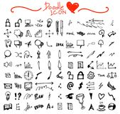 Hand getrokken naadloos krabbelpatroon met bedrijfssymbolen eps10 Royalty-vrije Stock Foto's