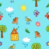 Hand getrokken naadloos patroon De zomerachtergrond Vector illustratie Royalty-vrije Stock Afbeelding