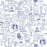 Hand getrokken naadloos patroon met bedrijfssymbolen Stock Afbeeldingen