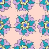 Hand getrokken naadloos patroon met bloemen Royalty-vrije Stock Fotografie