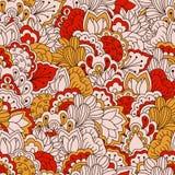 Hand getrokken naadloos patroon met bloemenelementen Stock Fotografie