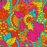Hand getrokken naadloos patroon met bloemenelementen Stock Foto